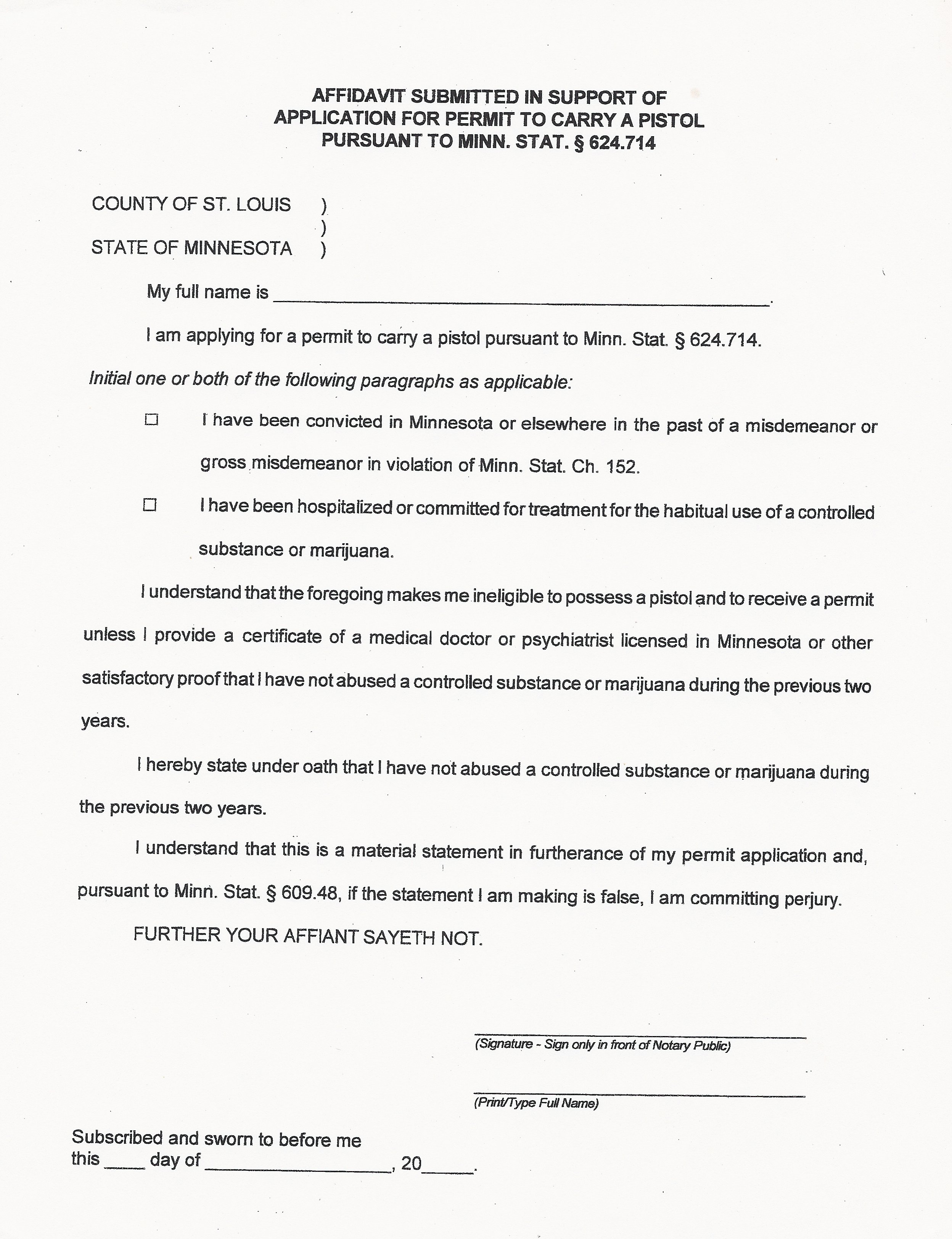 Minnesota Permit to Carry Application